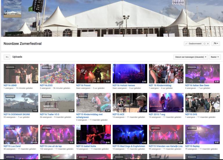 Videoclips van optredens ook op Youtube